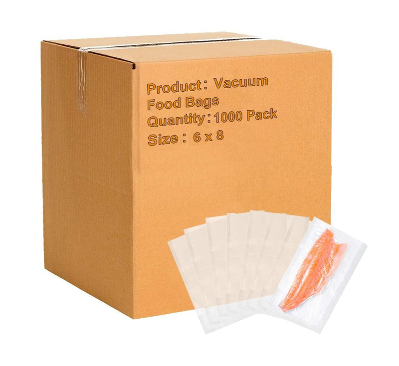 "1000 Pack Clear Poly Co-Extruded Vacuum Pouches 6"" x 8"""