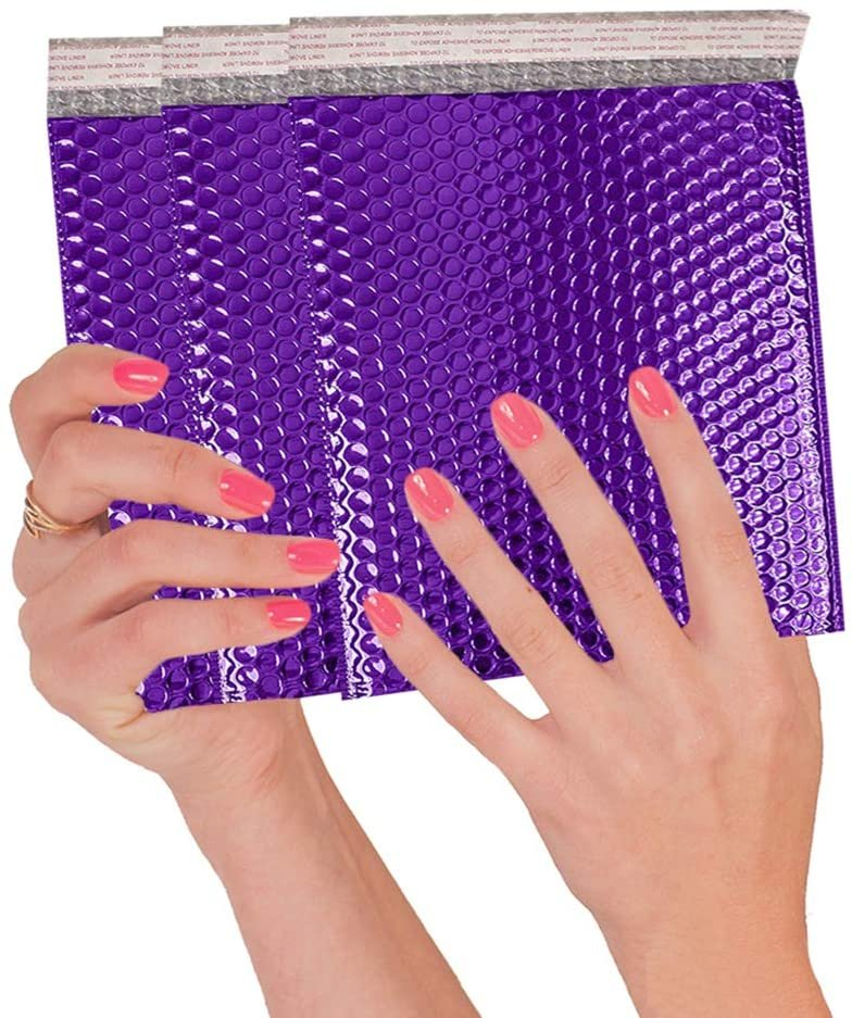 Purple Heavy-Duty Glamour Metallic Foil Self-Seal Bubble Mailers Cushion Padded Envelopes /w Peel & Seal