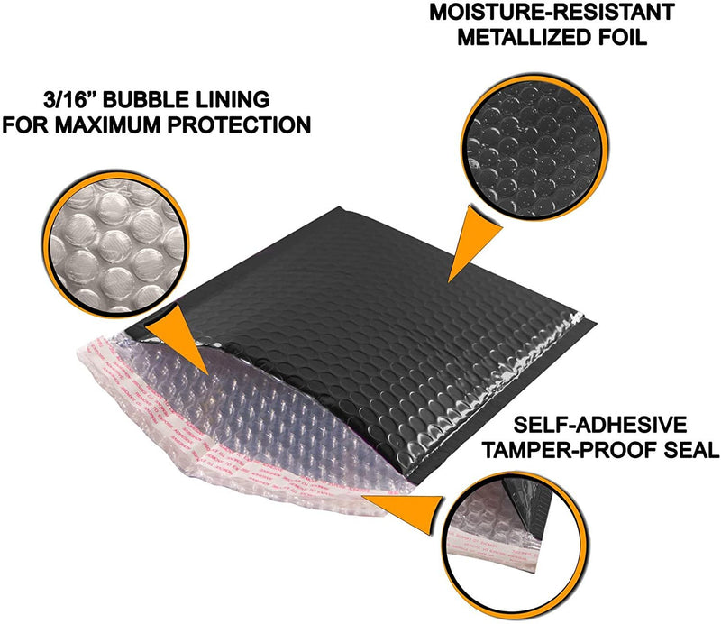 Glossy Black Metallic Foil Self-Seal Bubble Mailers Cushion Padded Envelopes /w Peel & Seal