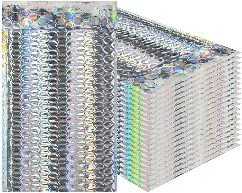 Holographic Bubble Mailers Metallic Glamour Padded Envelopes - AMZSupply.com