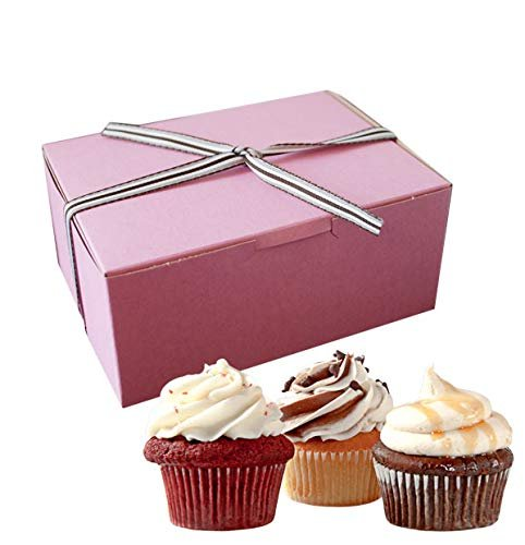 "750 Pack Small Pink Pastry Boxes 6"" X 6"" X 3"" Cardboard Bakery Boxes 6 X 6 X 3 Gray Interior Pastry Boxes For Cookies, Muffins - AMZ Supply"