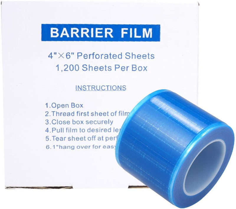 "Adhesive Barrier Film 4"" x 6"". Roll Of 1200 Clear Disposable Sheets. Protective Film Barrier In Dispenser Box Plastic Wrap Cover Against Infections - AMZSupply.com"