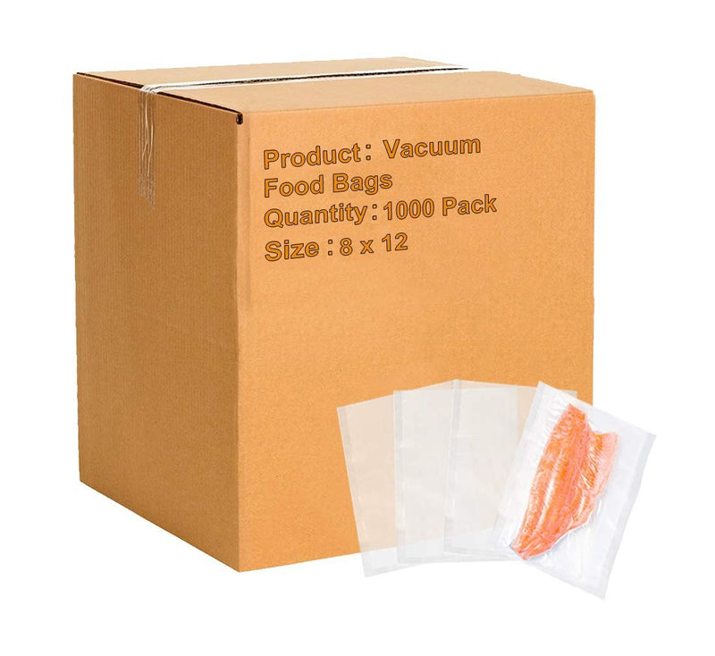 "1000 Pack Clear Poly Laminated Vacuum Pouches 8"" x 12"""