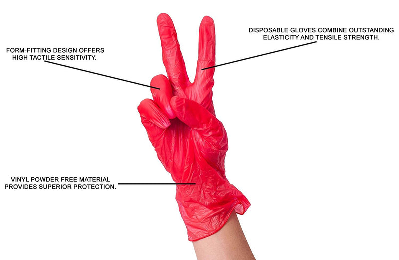 1000 Pack Red Vinyl Powder-Free Gloves L Size