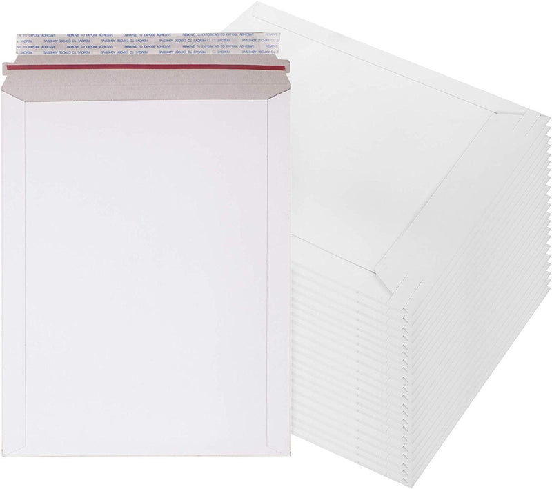 "10 Pack White Paperboard Self Seal Stayflat Rigid Mailers w/ Tear Strip 7"" x 9"""