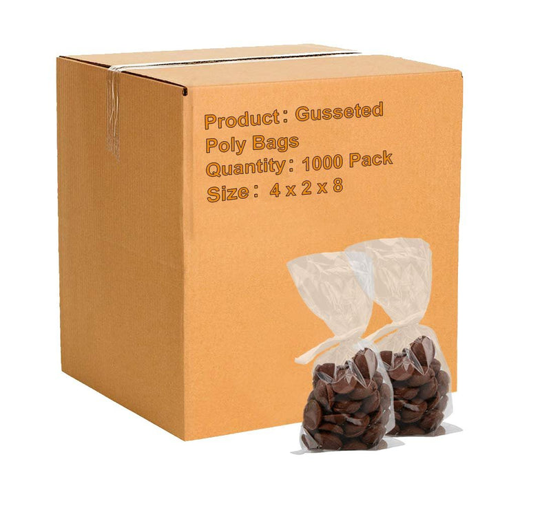"1000 Pack Clear Gusseted Poly Bags 4"" x 2"" x 8"" 1 Mil"