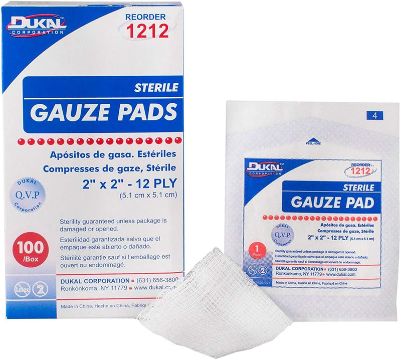 "100 Pack Sterile Woven Gauze Pads 2"" x 2"""