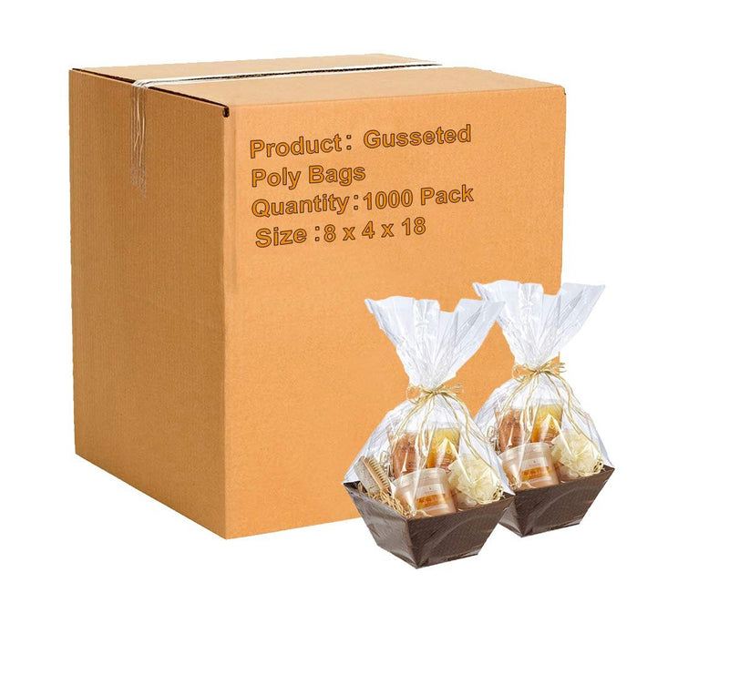 Gusseted Poly Bags 8 x 4 x 18 Clear Polyethylene Bags 2 Mil Expandable Side Gusset Bags - 1000 Pack - AMZSupply.com