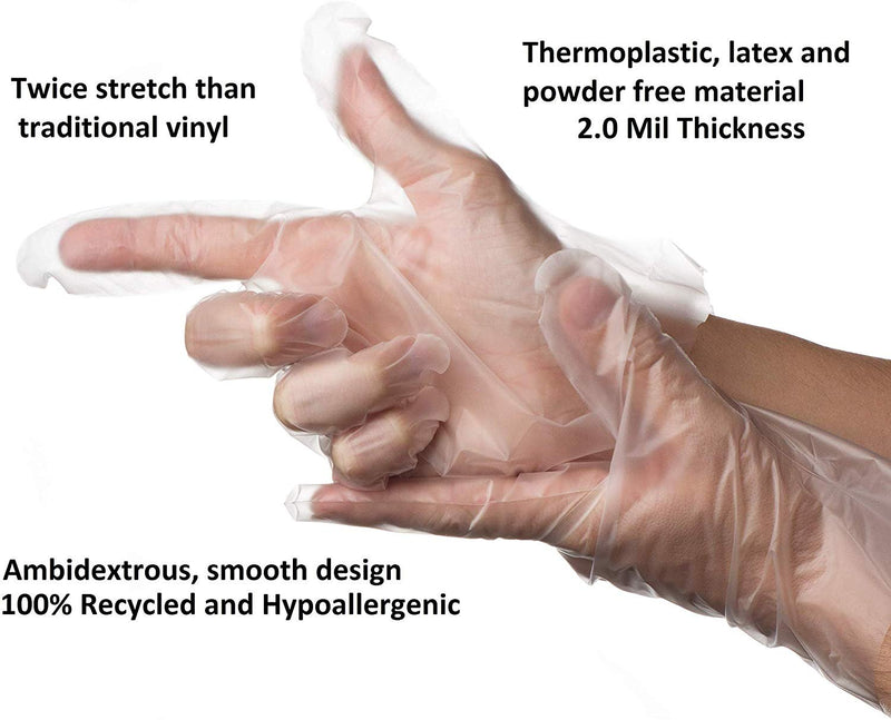Heavy Duty Powder-Free Industrial Grade Vinal Gloves 2 Mil Natural Color Non-Exam
