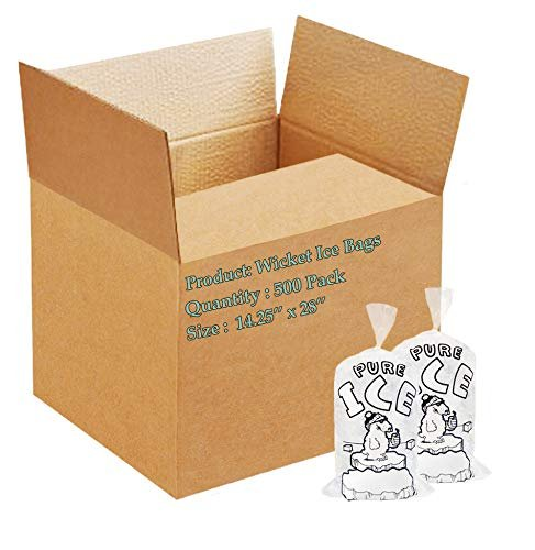 Pack Of 500 Wicket Ice Bags 14.25 x 28 + 4. Twist Ties Polar Bear Printed Icebags 20 lbs /w Plastic Wickets. FDA, USDA Approved, 1.75 Mil - AMZSupply.com