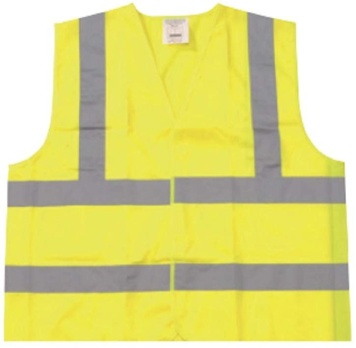 25 Pack High Visibility Safety Vests /w Silver Reflective Stripes. X-Large Yellow Lightweight Comfortable Vests. Breathable Polyester Vests