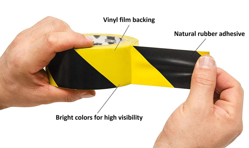 "Black and Yellow Vinyl Hazard Warning Tape 7 Mil /w Natural Rubber Adhesive 3"" x 36'"