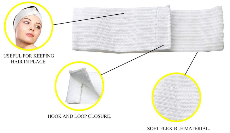 Stretch Headbands. Pack Of 48 Disposable Headbands For Spa Treatments. Hook And Loop Closure. Soft Flexible Material. Latex-Free. White Color - AMZSupply.com