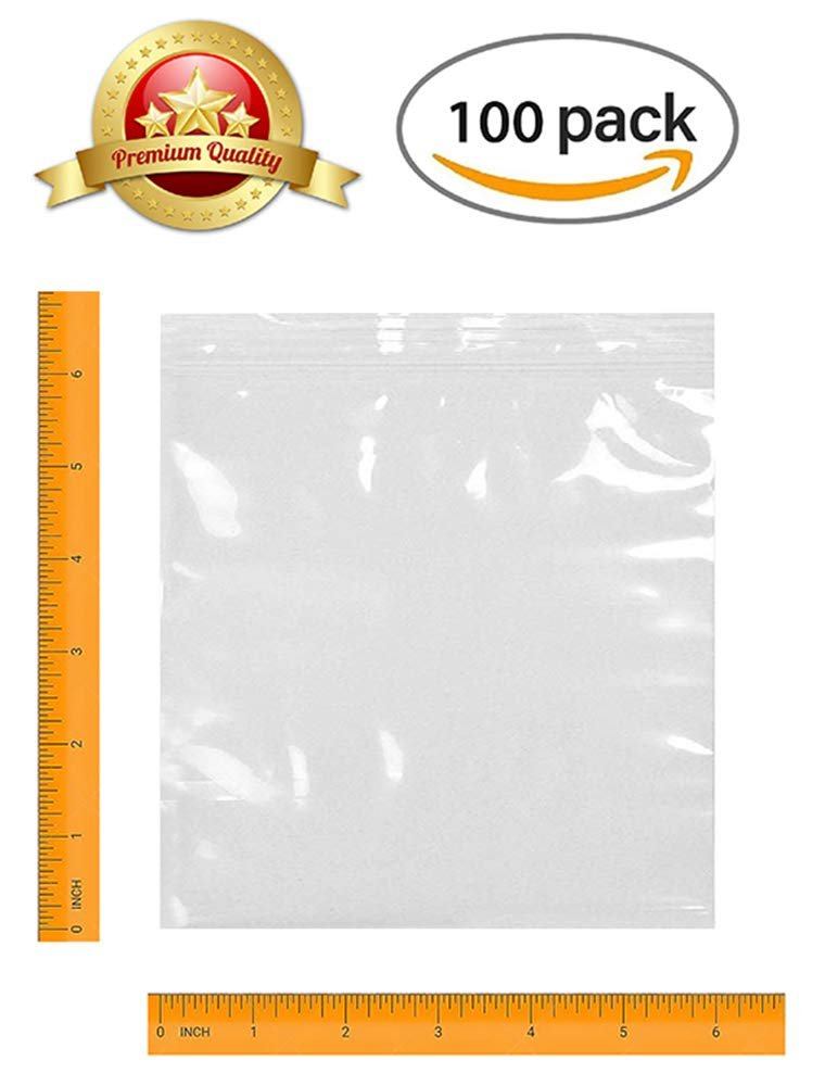 "100 Pack Clear Poly Zipper Locking Bags 6"" x 6"""