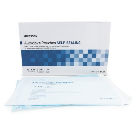 Sterilization Pouch McKesson Ethylene Oxide (EO) Gas / Steam 12 X 18 Inch Transparent Blue / White Self Seal Paper / Film - 1000 pack