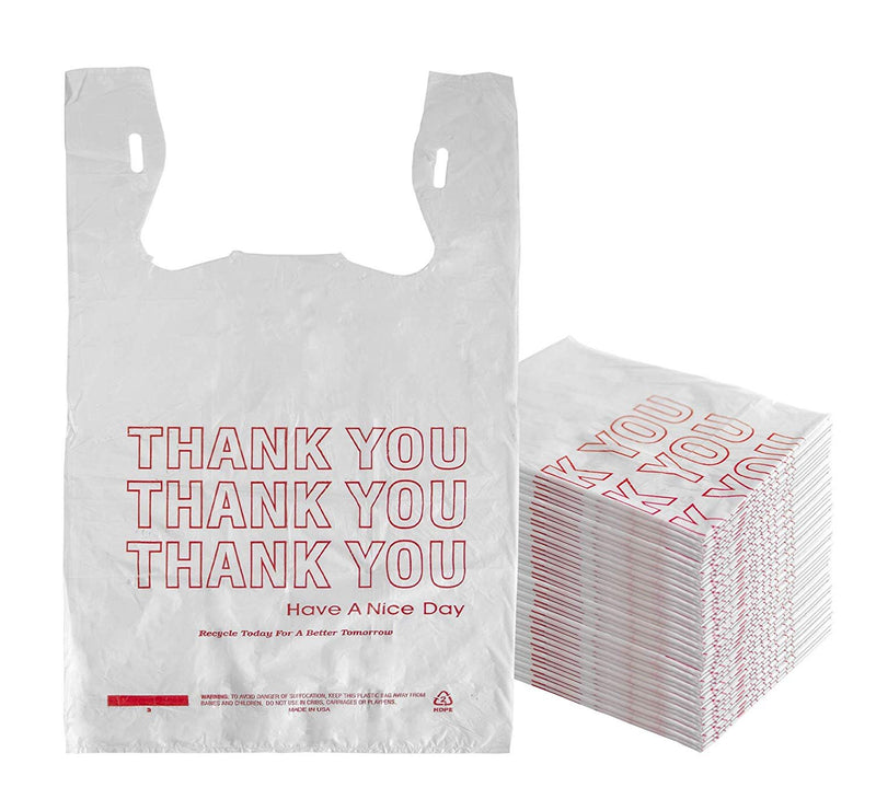 Pack Of 500 Thank You Plastic Bags 15 x 7 x 26. Carry-Out T-Shirt Bags Thickness 0.65 Mil. Reusable Preprinted Shopping Bags - AMZSupply.com