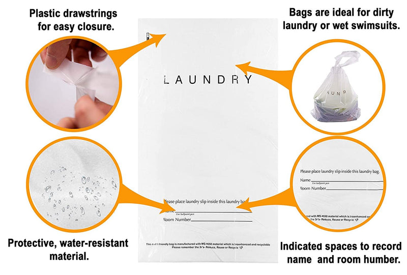 Clear White Tear Strip Hotel Laundry Gusset Bags /w Drawstring Closure & Write-on Indicator Strips