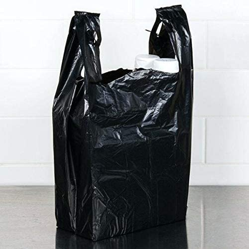 "100 Pack Black T-Shirt Grocery Bags 11.5"" x 6.5"" x 22""  — Thank You Plastic Bag"