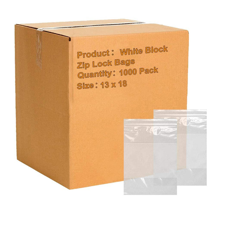 "1000 Pack White Poly Zip Lock Bags 13"" x 18"""
