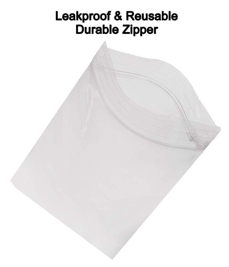 Pack Of 250 Zip Lock Bags, Clear 14 X 20. Ultra Thick Seal Top Bags 14X20. FDA Approved, 4 Mil Thick. Heavy Duty Polyethylene Bags With Single Track - AMZ Supply