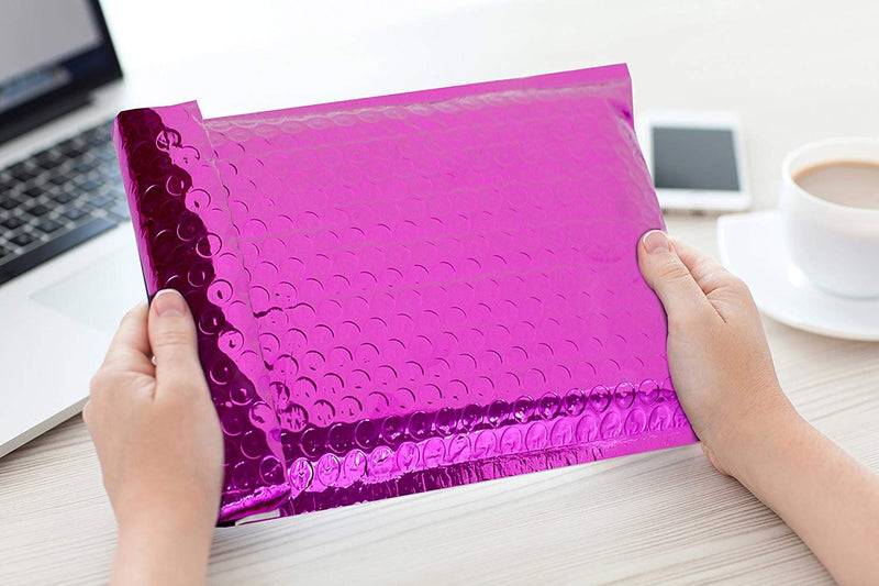 6.5x10 Premium Quality Glamour Bubble Mailers Hot Pink Envelopes - 20 Pack - AMZSupply.com