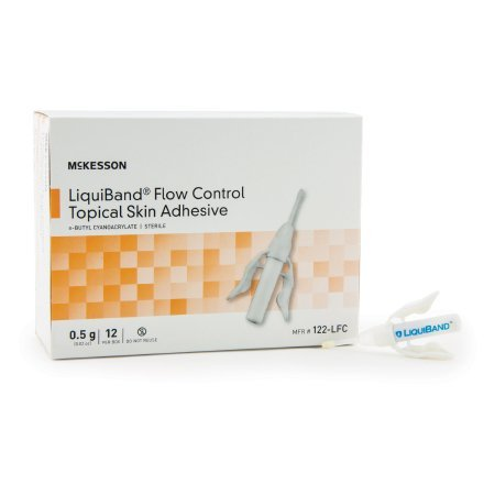 Skin Adhesive McKesson LiquiBand® Flow Control 0.5 mL Liquid Precision Applicator Tip n-Butyl Cyanoacrylate - 12 pack
