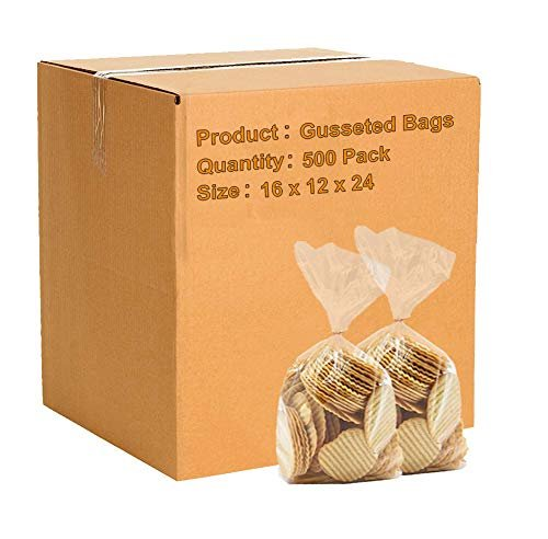 Pack Of 500 Gusset Bags, Clear 16 x 12 x 24. Plastic Expandable Bags 16X FDA Approved, 1.5 Mil - AMZSupply.com