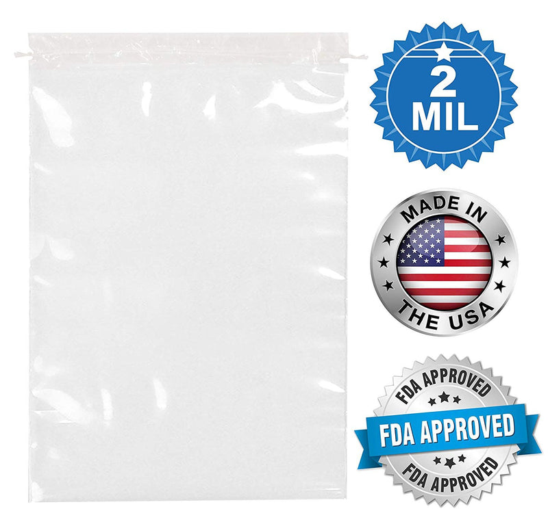 "1000 Pack Clear Poly Drawstring Bags 8"" x 10"""