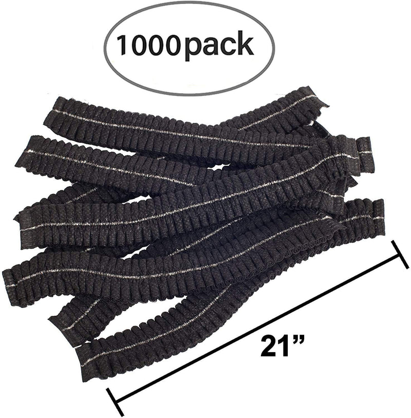 "1000 Pack Black Polypropylene Mob Caps 21"" /w Elastic Stretch Band"