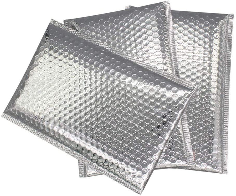 Silver Heavy-duty Glamour Metallic Foil Self-Seal Bubble Mailers Cushion Padded Envelopes /w Peel & Seal