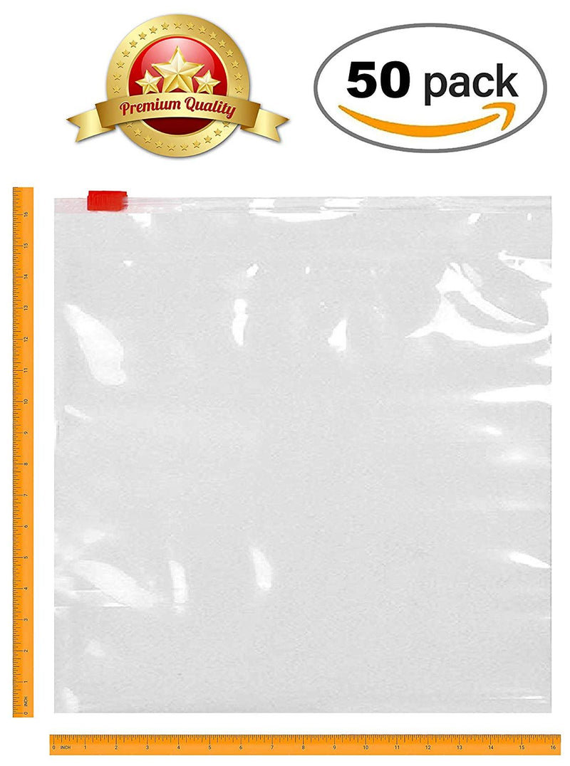 16 x 16 Slider Zip Lock Bags Clear Poly Bags FDA, USDA Approved, 3 Mil. Polyethylene Bags For Packing And Storing - 50 Pack - AMZSupply.com