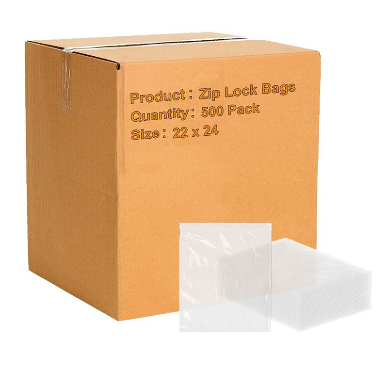Pack Of 500 Zip Lock Bags, Clear 22 X 24. Seal Top Bags With Single Track 22X24. FDA Approved, 2 Mil Thick. Poly Bags For Packing And Storing. - AMZ Supply