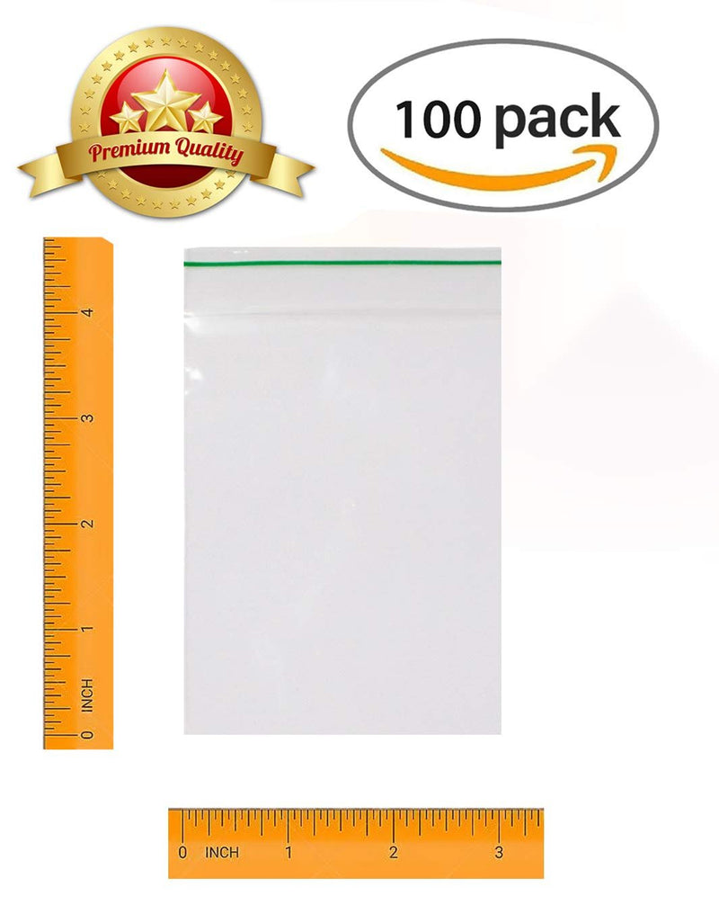"100 Pack Greenline Poly Zip Lock Bags 3"" x 4"""