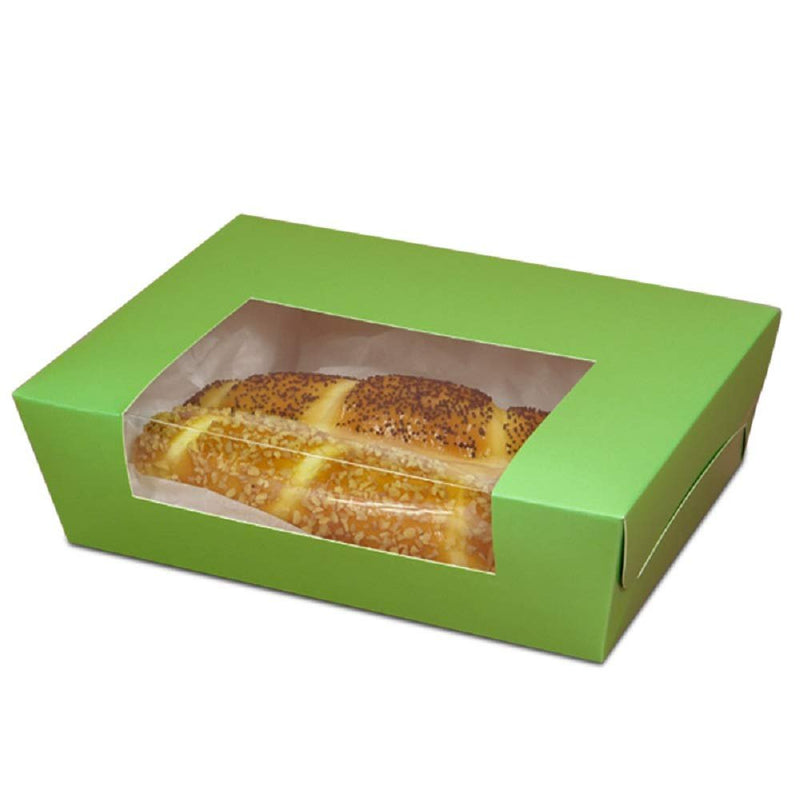 "100 Pack Green Wrap Around Window Bakery Boxes 5.75"" x 5"" x 3"""