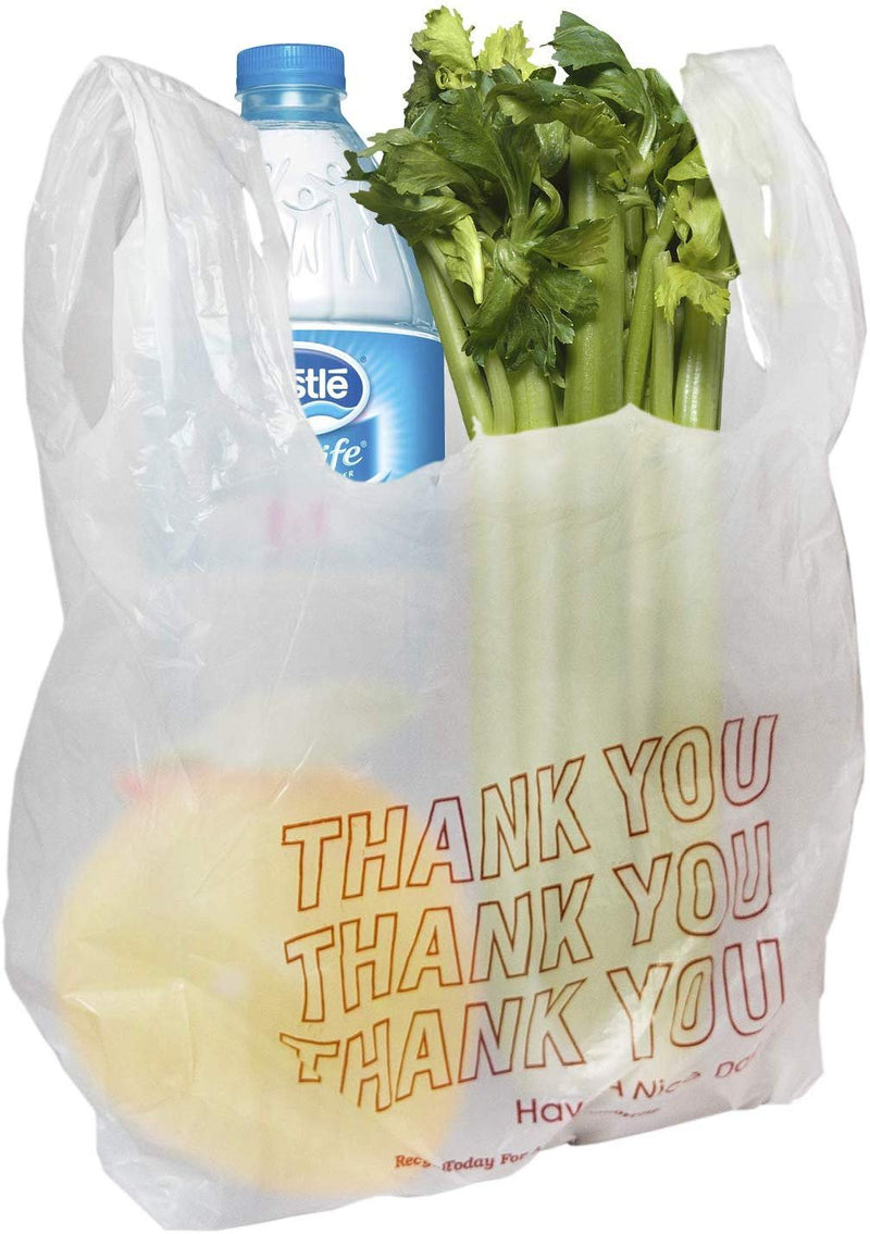 "100 Pack White T-Shirt Grocery Bags 11.5"" x 6.5"" x 21"" — Thank You Plastic Bag"