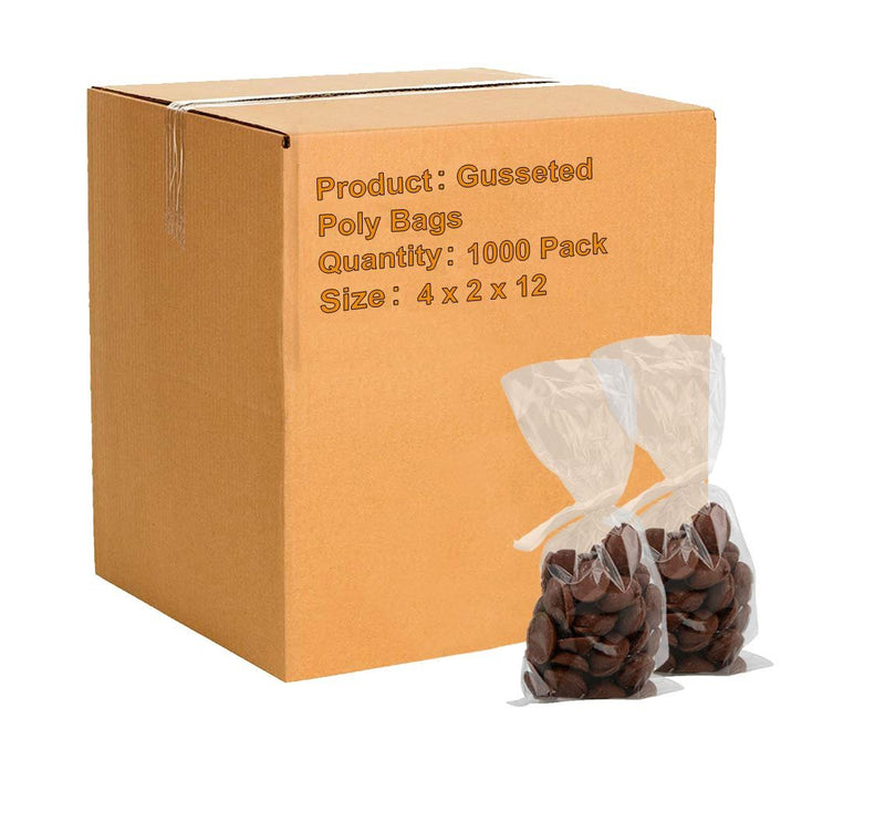 "1000 Pack Clear Gusseted Poly Bags 4"" x 2"" x 12"" 1 Mil"