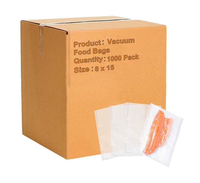 "1000 Pack Clear Poly Laminated Vacuum Pouches 8"" x 15"""