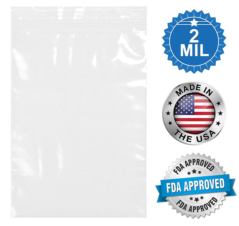 "1000 Pack Clear Printed Poly Zip Locking Bags 4"" x 6"""