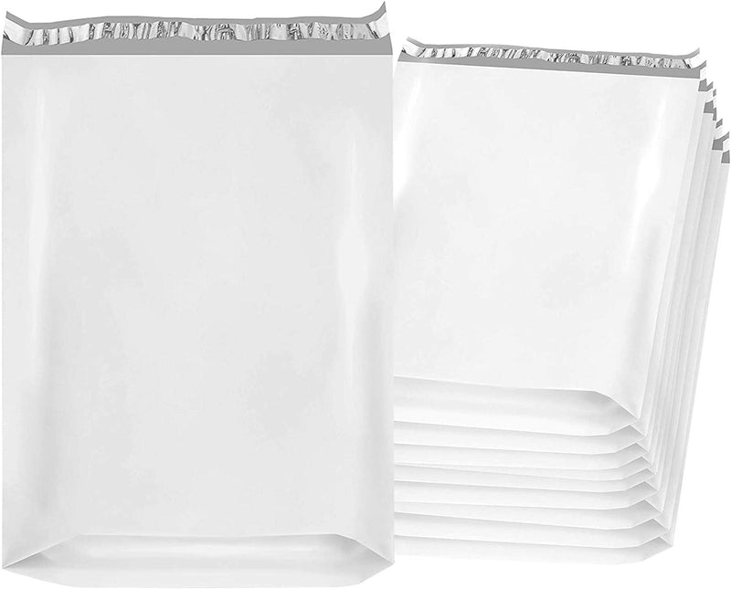 White Expandable Poly Mailers Gusseted Shipping Bags 2.4 mil /w Peel & Seal