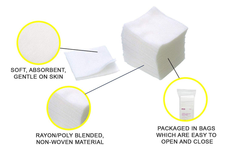 "Facial Wipes 4"" x 4"". Pack Of 200 Large Gauze Wipes For Skin Care Services. 12-Ply Cotton Sponges. Soft Texture. 100% Cotton. Opens To Single-Ply - AMZSupply.com"