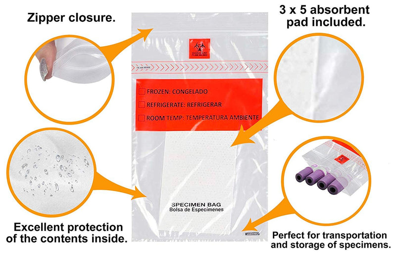 "100 Pack Clear Poly Specimen Transfer Bags 8"" x 10"""