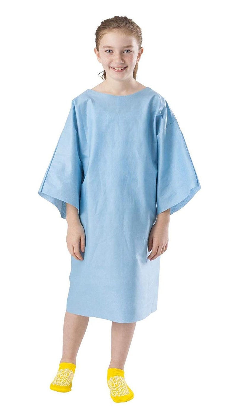 100 Pack Blue Disposable Exam Gowns 9–12 Years