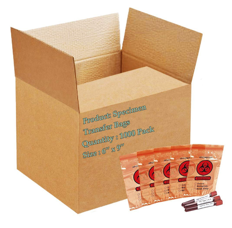 "1000 Pack Red Poly Specimen Transfer Bags 6"" x 9"""