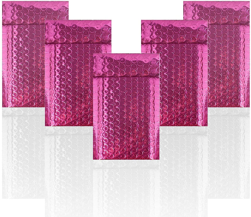 "20 Pack Glamour Hot Pink Metallic Foil Self-Seal Bubble Mailers Cushion Padded Envelopes /w Peel & Seal 4"" x 8"""