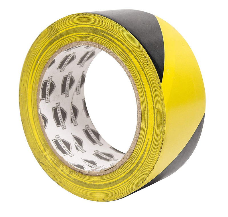 "Aisle Marking Tape 3"" x 36'. 1 Roll Of Hazard Warning Tape. Flexible Black, Yellow Tape. Vinyl Tape For Making Steps, Pillars, Parking Lots"