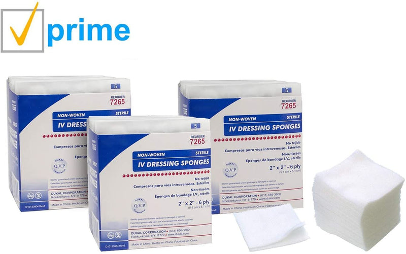 "Non-Woven Sponges 2"" x 2"". Case Of 50 Sterile Dressings For Wounds. Non-Linting. 4-Ply Rayon/Poly Blend Latex-Free - AMZSupply.com"