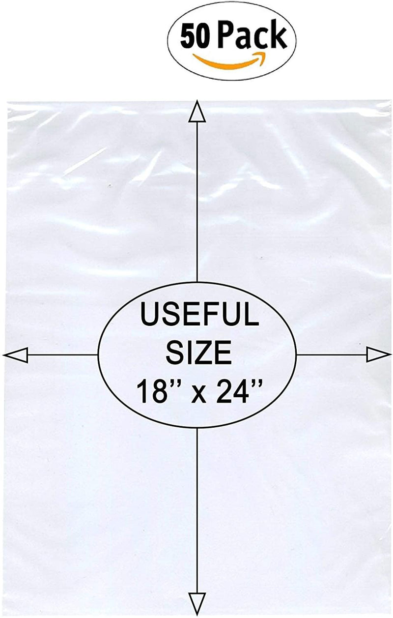 Flat Bags 18X24 Clear Packing Bags 18 x 24. Pack Of 50 Cellophane Pouches. No Print. No Vent Hole. Non-Sticky. Mailing, Shipping, Packaging, Storage - AMZSupply.com