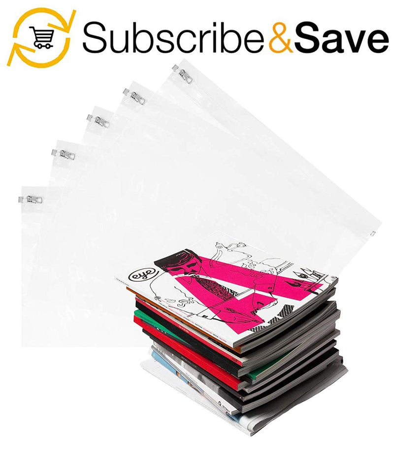 "10 Pack Clear Poly Metal Zipper Bags 14.5"" x 10"""