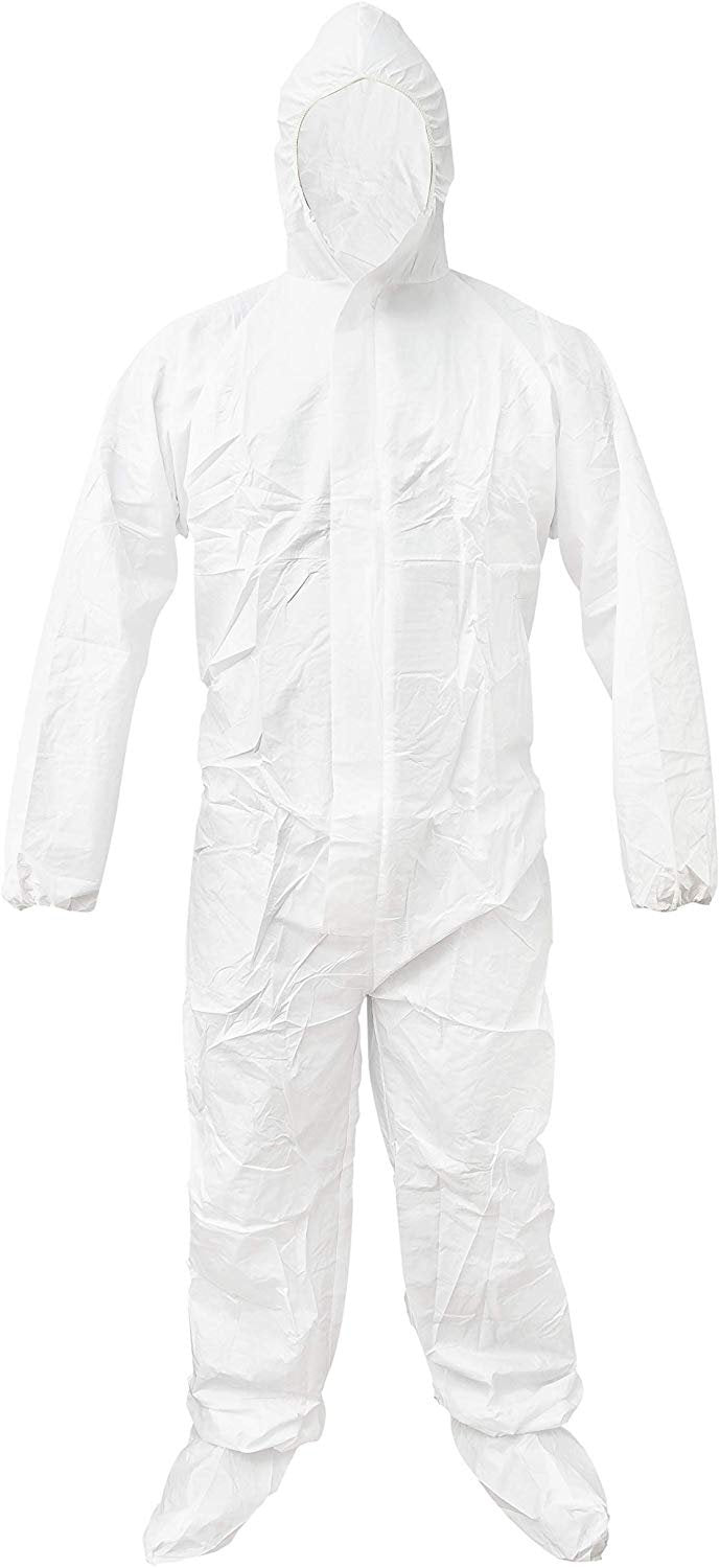 White 55G Microporous Coverall /w Boot, Hood, Elastic Cuffs, Ankles, Waist. Heavy-Duty Protective Coveralls. Unisex Disposable Workwear - AMZSupply.com