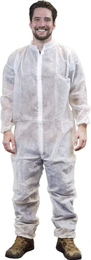 White Adult Coverall 3X-Large Anti-Static Fabric Apparel with Zipper Front Entry - Unisex